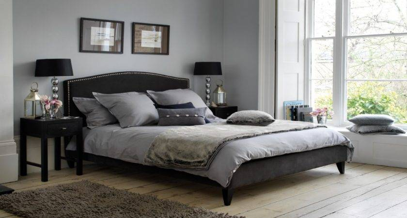 Light Blue Bedroom Design Black Gray