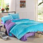 Light Blue Purple Coral Fleece Bedding Teen