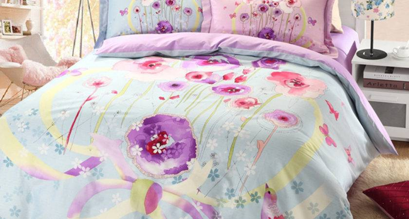 Light Blue Purple Floral Bedding Set Ebeddingsets