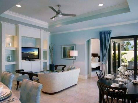 Light Blue Wall White Furniture Bedroom Interior