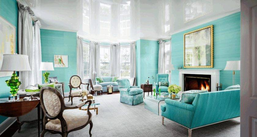 Light Turquoise Living Room Simpl Wooden Flooring Artistic