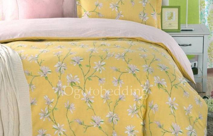 Light Yellow Country Cotton Floral Queen Comforter Sets