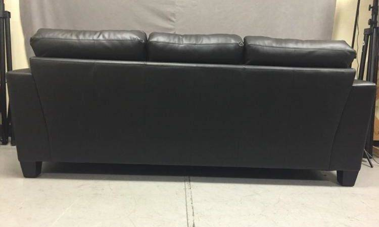 Like New Black Leather Sofa Deep Attached Cushions