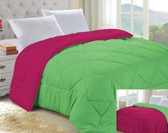 Lime Green Knockout Pink Reversible College Comforter