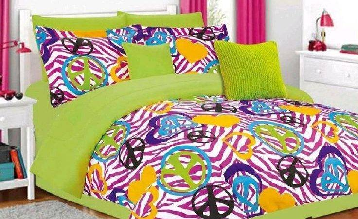 Lime Green Pink Bedding Blue