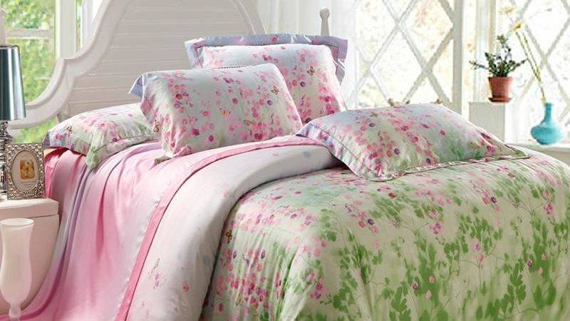 Lime Green Pink Fairy Garden Floral Print Soft