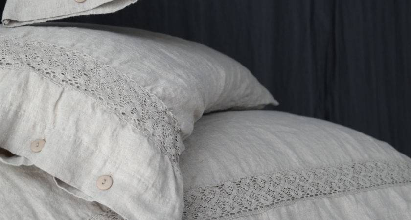 Linen Duvet Cover Natural French Lace