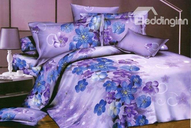 Little Blue Purple Flower Print Piece Bedding Sets
