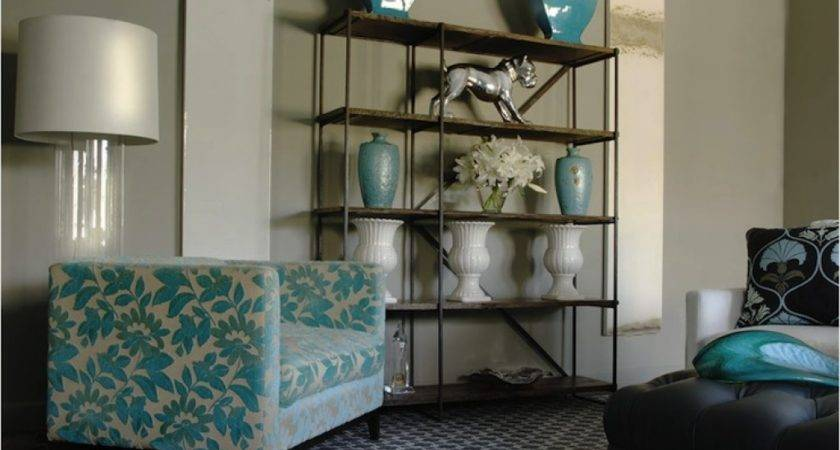 Living Room Accent Yellow Gray Black Turquoise