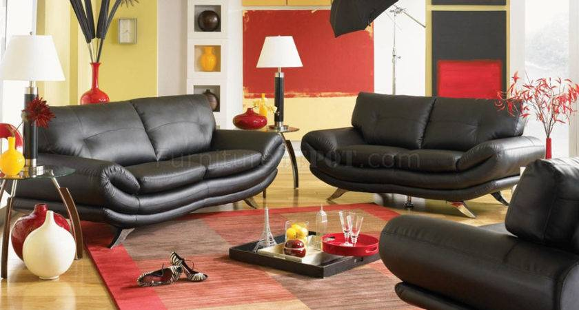 Living Room Beautiful Yellow Black Red