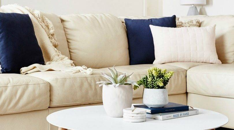 Living Room Beige Leather Sofa Navy Blue Cushions