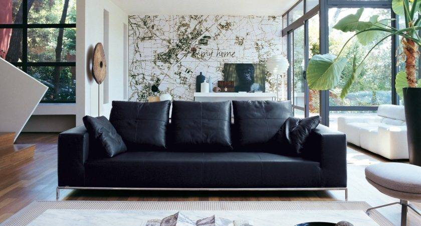 Living Room Black Leather Sofa Decosee