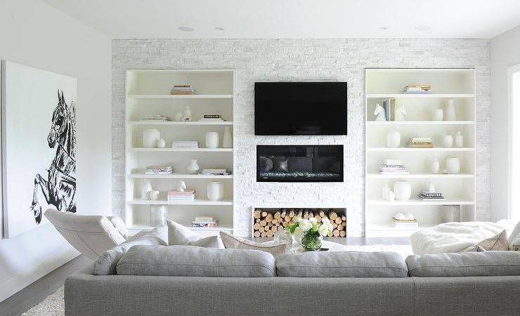 Living Room Built Bookcases Flanking Fireplace