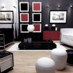 Living Room Contemporary Red Black White