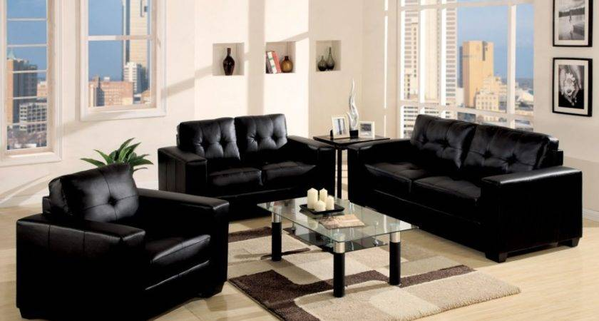 Living Room Decor Black Sofa Modern House