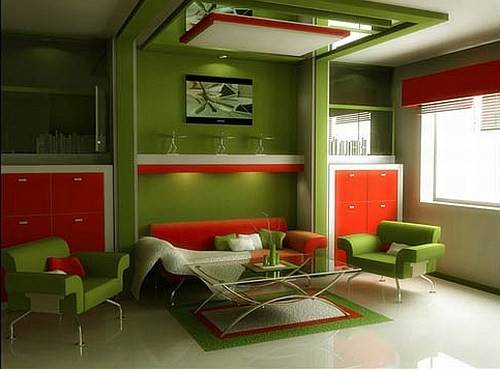 Living Room Design Red Colors
