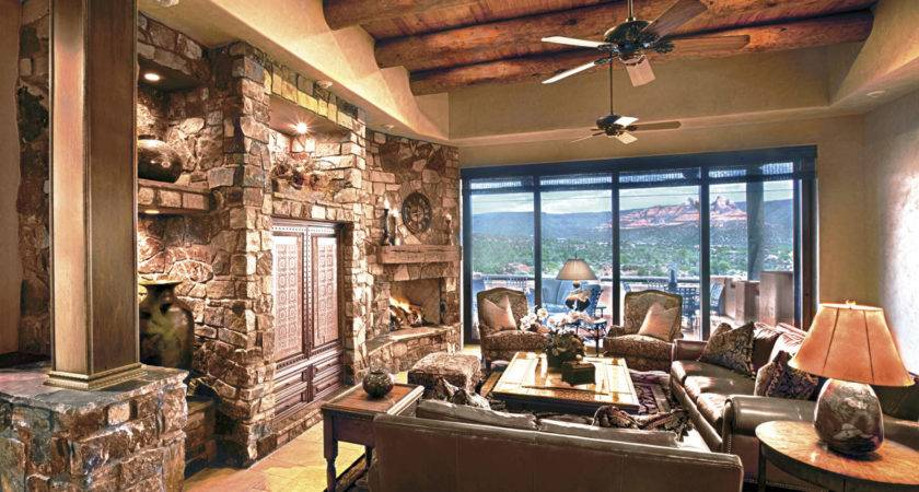 Living Room Fabulous Stones Wall Inside Tuscan Style