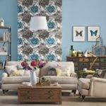 Living Room Floral Feature Wall