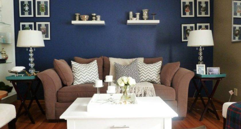 Living Room Glamorous Blue Accents