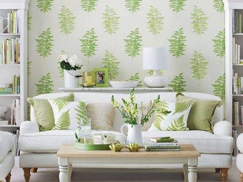 Living Room Green Fern Design