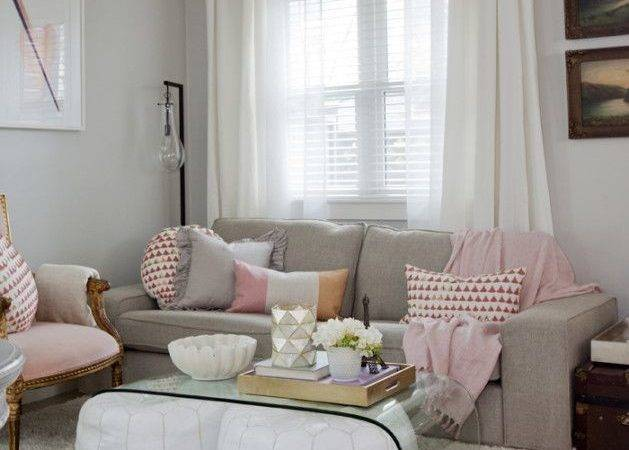 Living Room Idea High Fashion Home Pink White Gray