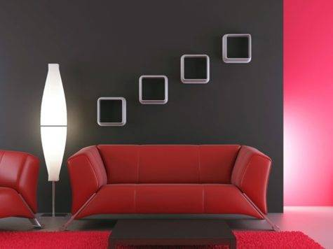 Living Room Interior Design Red Wall Sofa White Lighting