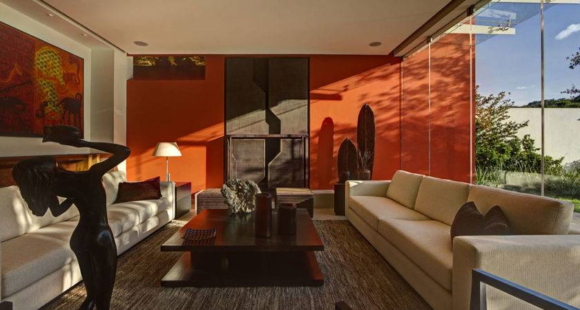 Living Room Orange Wall Coffee Table Sofas Modern