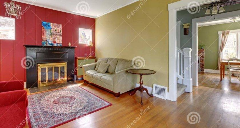 Living Room Red Yellow Walls Fireplace