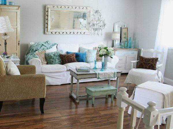 Living Room Shabby Chic Interior Design Home Decorating