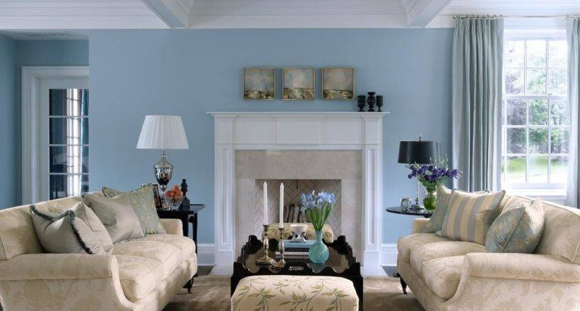 Living Room Traditional Blue Decor Ideas