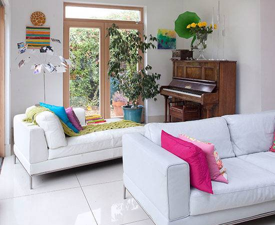 Living Room White Leather Sofa