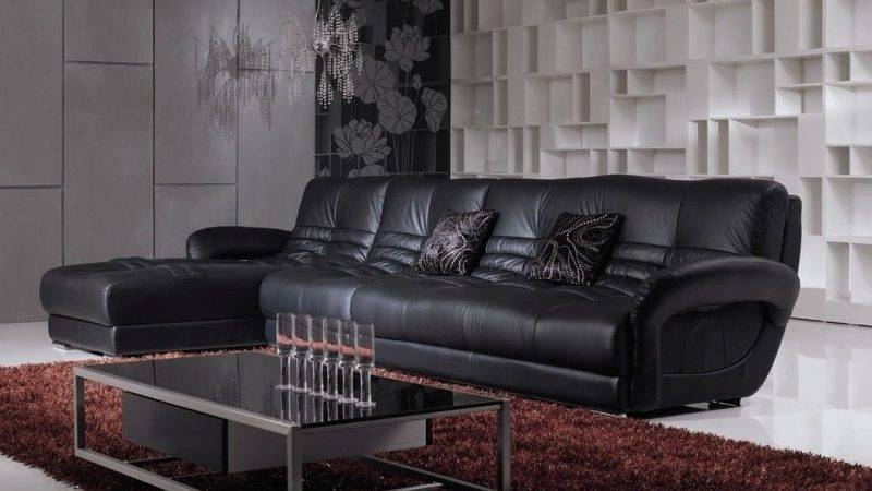 Living Rooms Black Leather Couches