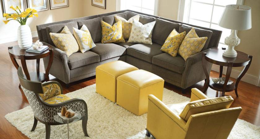 Living Rooms Luxurious Yellow Room Gray Wall
