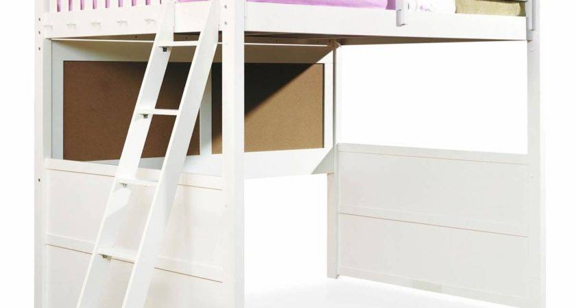 Loft Bed Desk White Black