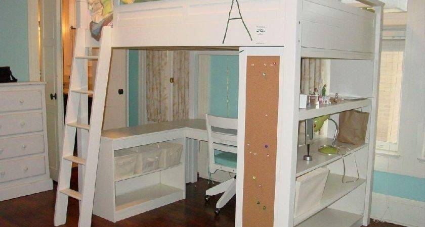 Loft Bed Desk White