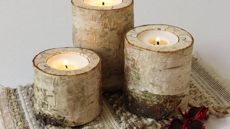 Log Candle Holder Rustic Birch Wood Tealight