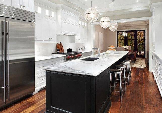 Long Kitchen Island Transitional Design