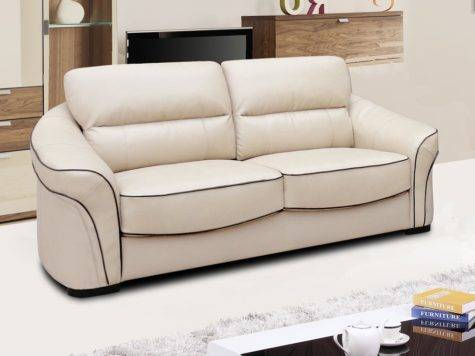 Longdon Pale Ivory Cream Leather Sofa Collection