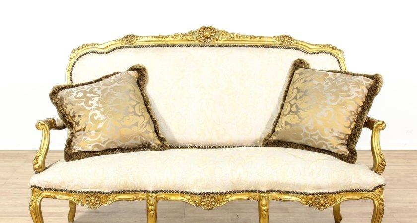 Louis Style Gilt Gold Cream Settee Sofa Loveseat