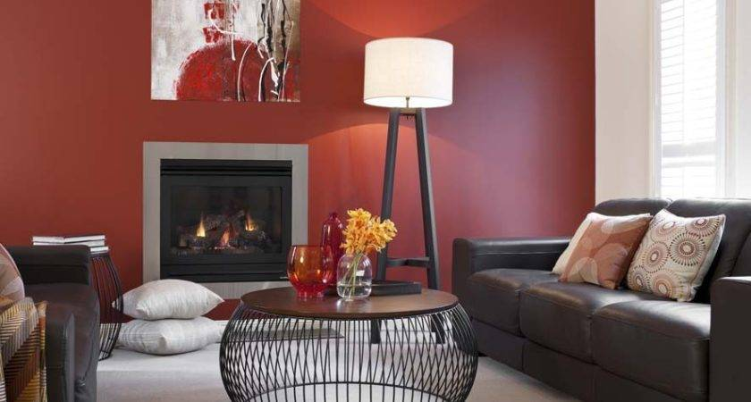 Lounge Room Red Feature Wall Inspirations Paint