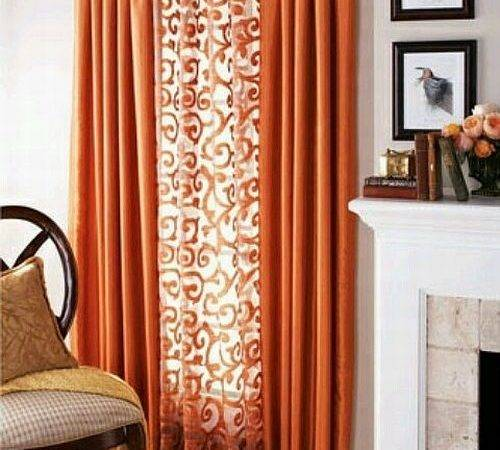 Lovable Orange Brown Curtains Best Eyelet Kitchen