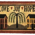 Love Joy Hope Primitive Saltbox Door Mat Country
