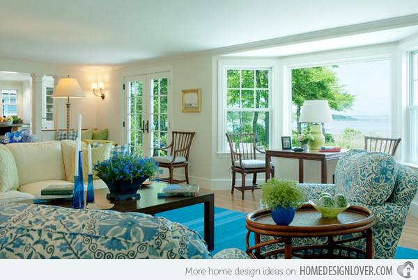Lovely Living Room Designs Blue Accents Home
