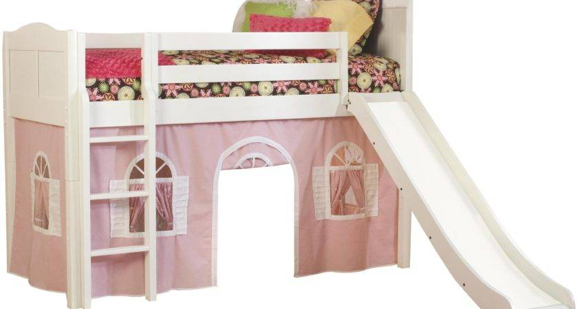 Lovely Pink White Kids Bunk Beds Slide Tent