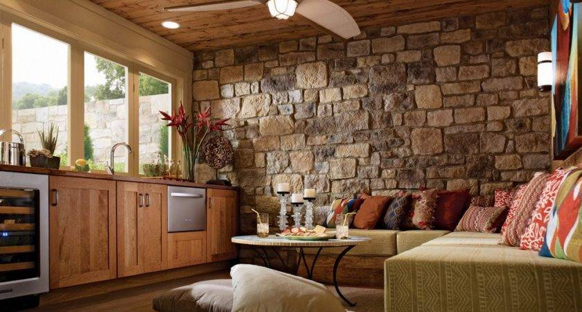Lovely Stone Wall Living Room Design Nationtrendz