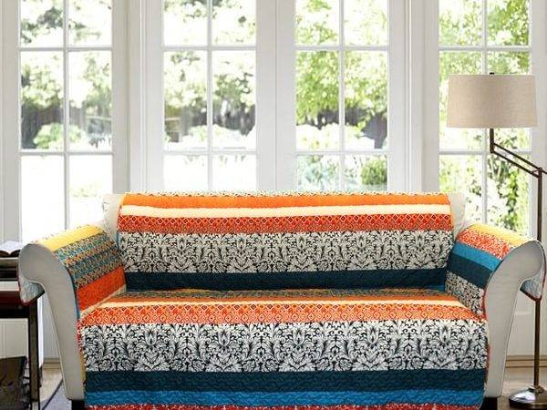 Lush Decor Boho Stripe Loveseat Turquoise Tangerine