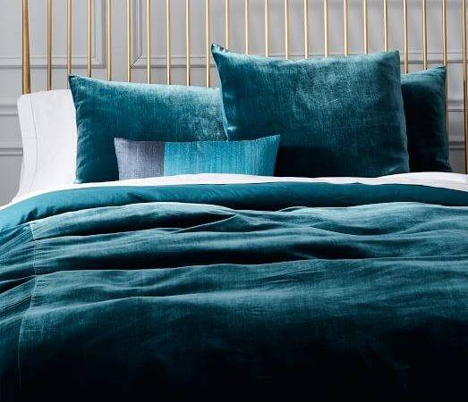 Luxe Velvet Duvet Cover Shams Blue Teal West Elm