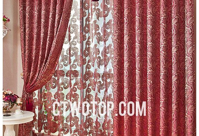 Luxurious Living Room Red Curtains Model