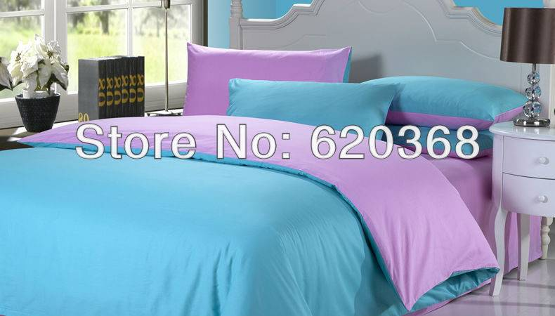 Luxury Bedsheet Sets King Blue Purple Bedding
