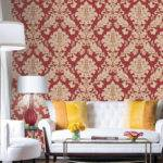 Luxury Damask Crimson Red Beige Gold Glitter